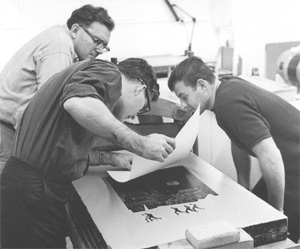 Printing a lithograph at Gemini, 1965
